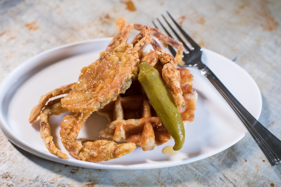 Softshell Crab and Waffles